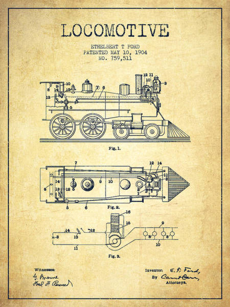 Trains Digital Art - Vintage Locomotive Patent From 1904 - Vintage by Aged Pixel