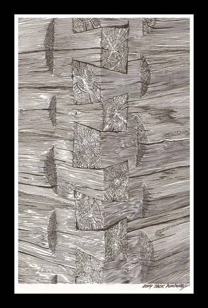 Log Drawing - Vintage Log Cabin Corner Detail by Jack Pumphrey