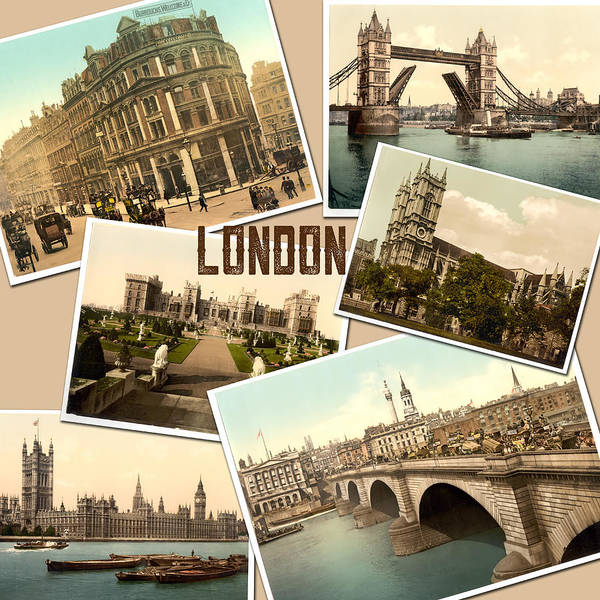 Photograph - Vintage London England Photochrome Postcards Collage by Peggy Collins