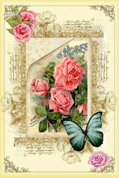 Digital Art - Vintage Look Roses And Butterfly by DMiller
