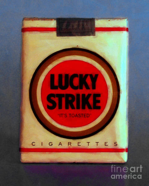 Photograph - Vintage Lucky Strike Cigarette - Painterly - V1 by Wingsdomain Art and Photography