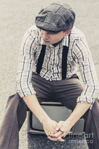 Homeless Photograph - Vintage Male Fashion Model On Tv by Jorgo Photography - Wall Art Gallery