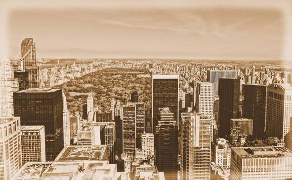 Photograph - Vintage Manhattan Skyline And Central Park by Dan Sproul