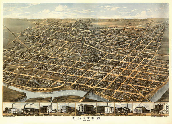 Road Map Photograph - Vintage Map Of Dayton Ohio 1870 by Mountain Dreams