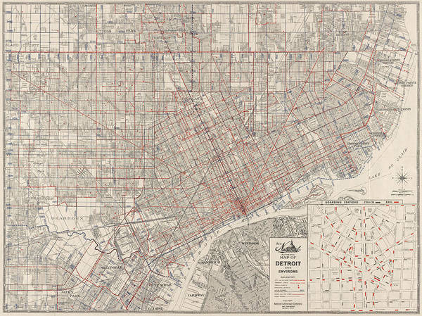 Car Drawing - Vintage Map Of Detroit Michigan From 1947 by Blue Monocle