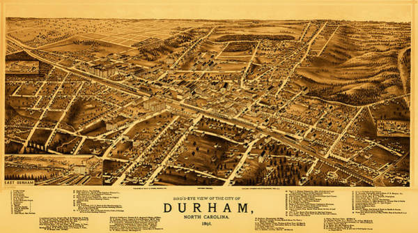 Road Map Photograph - Vintage Map Of Durham North Carolina 1891 by Mountain Dreams