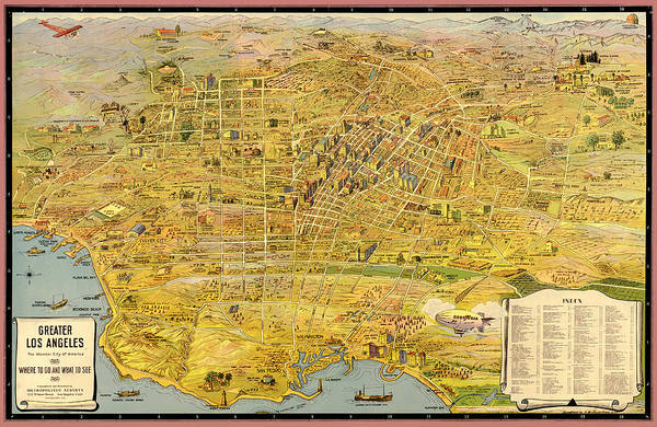 Road Map Photograph - Vintage Map Of Greater Los Angeles 1932 by Mountain Dreams