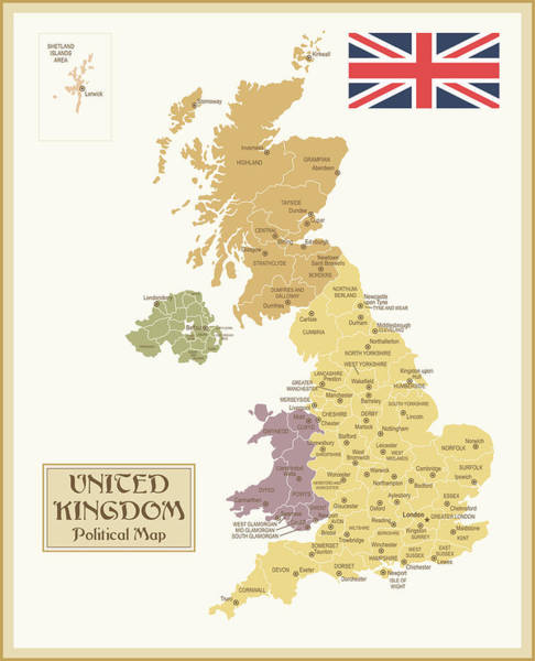 Manchester Digital Art - Vintage Map Of United Kingdom by Pop jop