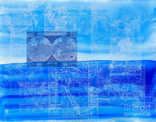 Mixed Media - Vintage Maps Over Blue Sky And Sea by Beverly Claire Kaiya