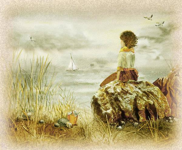 Wall Art - Painting - Vintage Memories Girl And The Ocean by Irina Sztukowski
