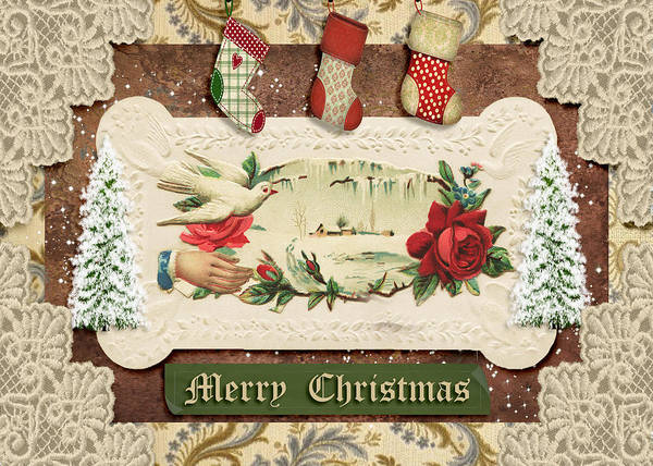Wall Art - Mixed Media - Vintage Merry Christmas by Paula Ayers