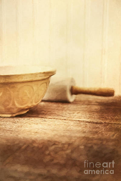 Photograph - Mixing Bowl With Rolling Pin On Table/ Digital Painting by Sandra Cunningham