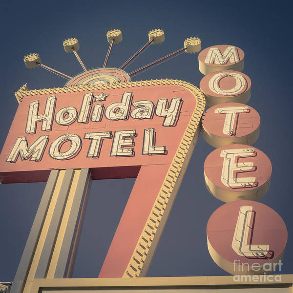 Wall Art - Photograph - Vintage Motel Sign Holiday Motel Square by Edward Fielding
