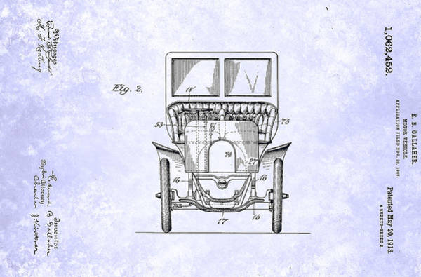 Painting - Vintage Motor Vehicle Patent From 1913 by Celestial Images