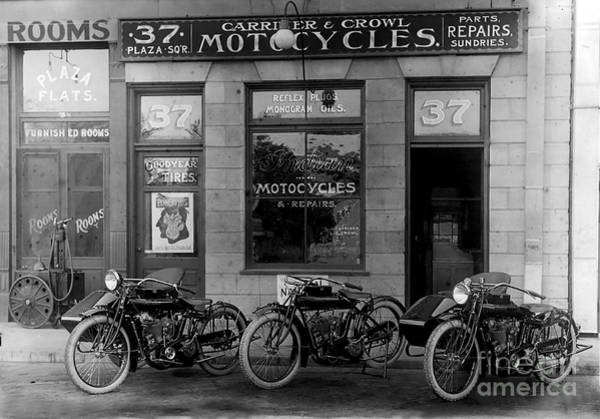 Motorcycle Photograph - Vintage Motorcycle Dealership by Jon Neidert