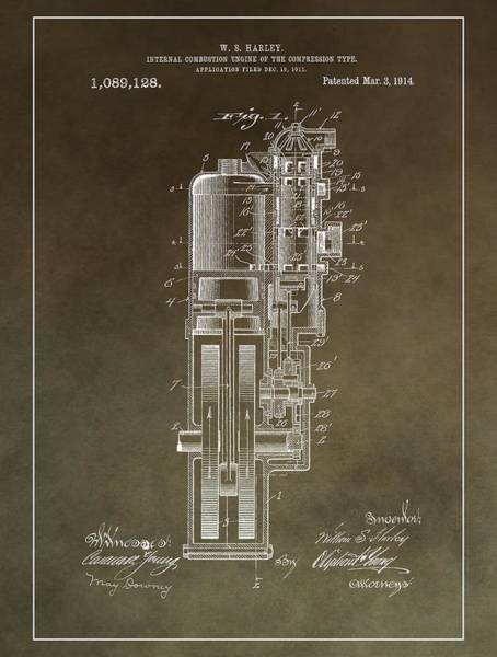 Hard Rock Mixed Media - Vintage Motorcycle Engine Patent by Dan Sproul
