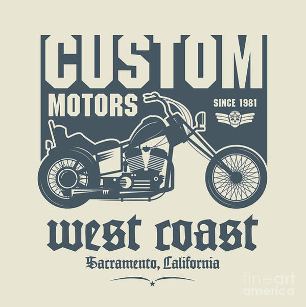 Cool Digital Art - Vintage Motorcycle Label Or Poster by Astudio