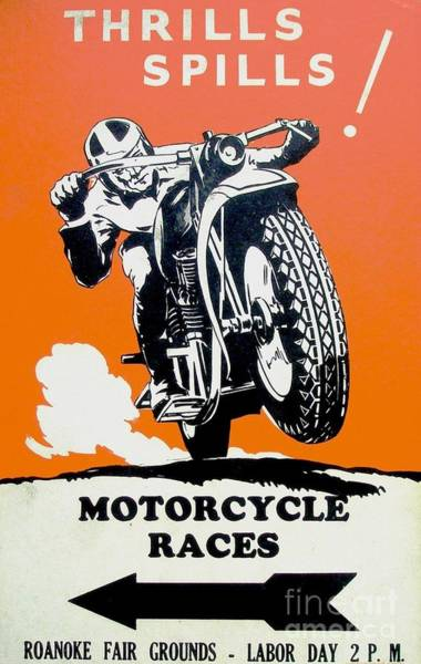 Thrilling Painting - Vintage Motorcycle Poster by Pg Reproductions