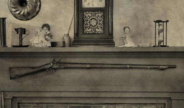 Remington Photograph - Vintage Muzzleloader Over Fireplace by Dan Sproul
