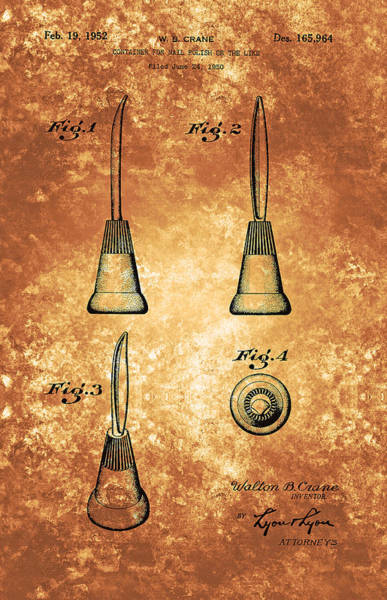 Painting - Vintage Nail Polish Container Patent From 1952 by Celestial Images