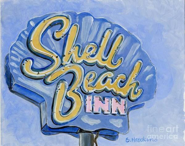 Neon Sign Painting - Vintage Neon- Shell Beach Inn by Sheryl Heatherly Hawkins