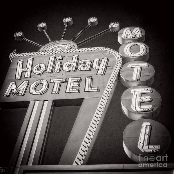 Las Vegas Strip Photograph - Vintage Neon Sign Holiday Motel Las Vegas Nevada by Edward Fielding
