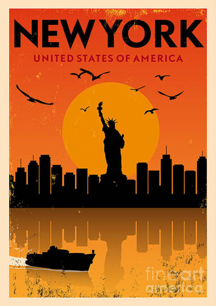 Buildings Digital Art - Vintage New York Poster by Avny