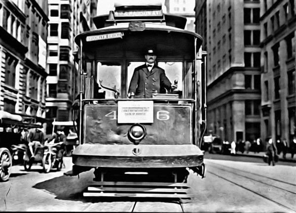 Painting - Vintage New York Streetcar by Florian Rodarte