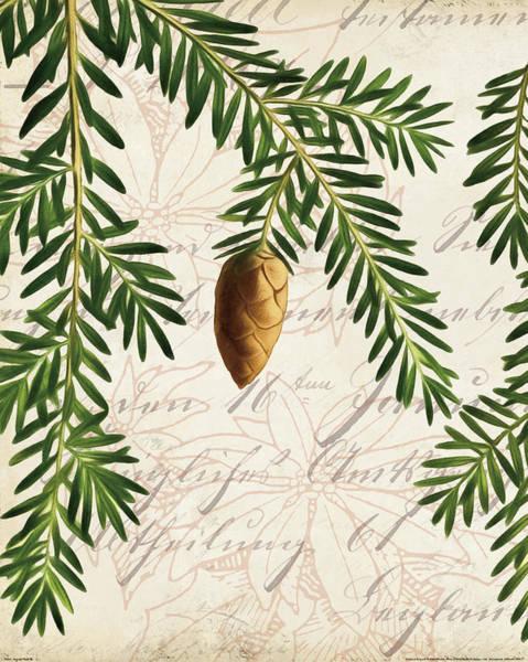 Pine Cones Painting - Vintage Noel Iv by Katie Pertiet