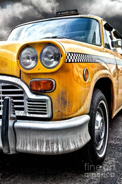 Yellow Taxi Photograph - Vintage Nyc Taxi by John Farnan