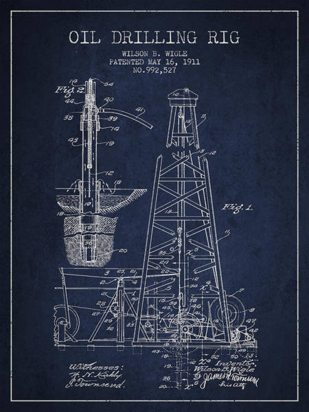 Patent Drawing Wall Art - Digital Art - Vintage Oil Drilling Rig Patent From 1911 by Aged Pixel