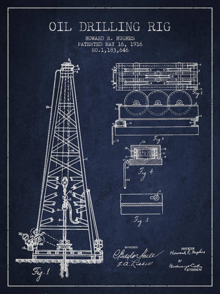 Drilling Rig Wall Art - Digital Art - Vintage Oil Drilling Rig Patent From 1916 by Aged Pixel