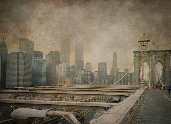 Wall Art - Photograph - Vintage Old New York City Skyline With Twin Towers And Brooklyn Bridge by Joann Vitali