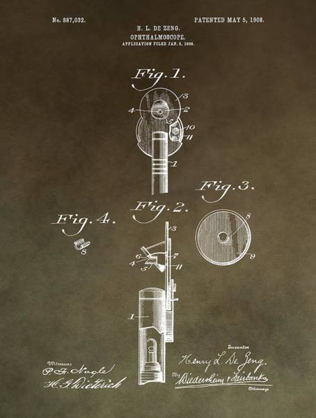 Mixed Media - Vintage Ophthalmoscope Patent by Dan Sproul