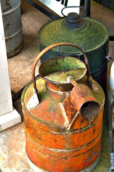 Photograph - Vintage Orange And Green Galvanized Containers by Lesa Fine