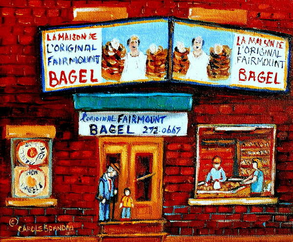 Painting - Vintage Paintings Of Family Life In Montreal A Visit To Fairmount Bagel Landmark Montreal City Scene by Carole Spandau