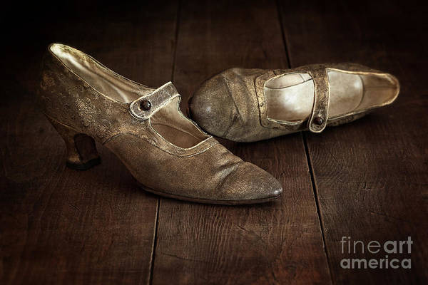 Photograph - Vintage Pair Of Ladies Brocade Shoes Left On Wooden Floor by Sandra Cunningham