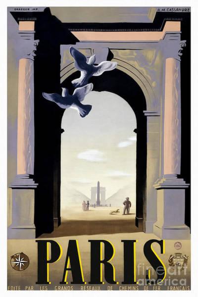 Wall Art - Drawing - Vintage Paris Travel Poster by Jon Neidert
