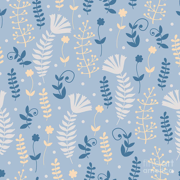 Leaf Digital Art - Vintage Pattern With Floral Motifs by Yudina Anna