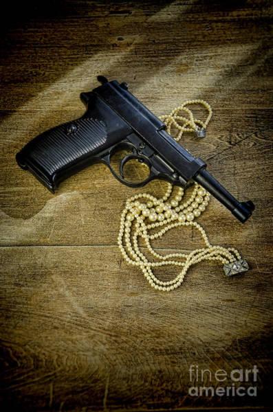 Wall Art - Photograph - Vintage Pearl Necklace With A Hand Gun by Jill Battaglia