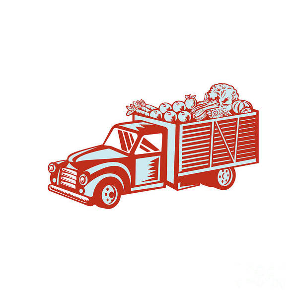Pick Up Truck Digital Art - Vintage Pickup Truck Delivery Harvest Retro by Aloysius Patrimonio