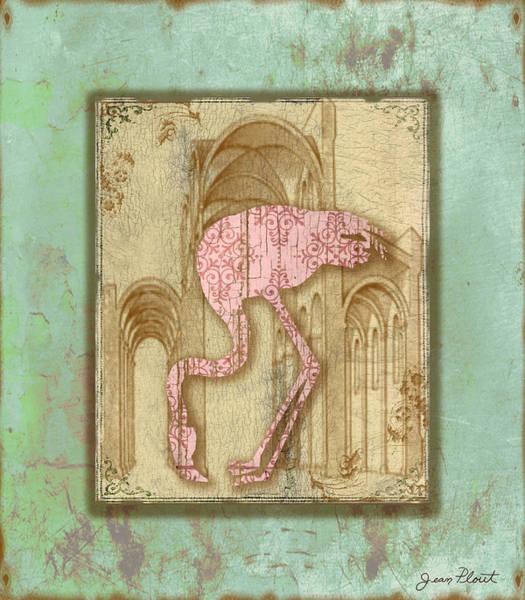Aqua Digital Art - Vintage Pink Flamingo-1 by Jean Plout