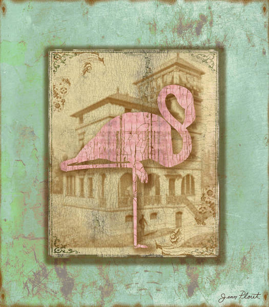 Aqua Digital Art - Vintage Pink Flamingo-2 by Jean Plout