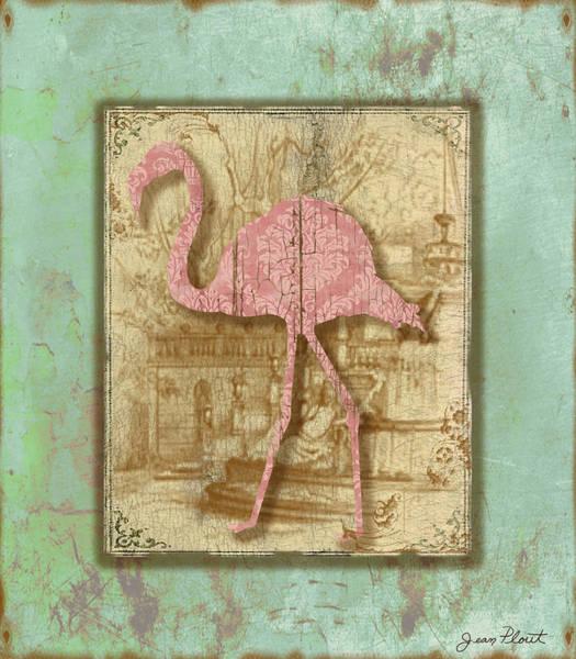 Aqua Digital Art - Vintage Pink Flamingo-3 by Jean Plout