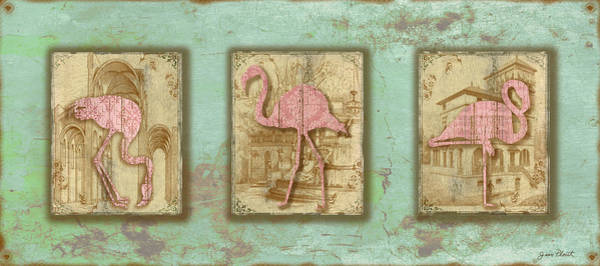 Aqua Digital Art - Vintage Pink Flamingo Trio-b by Jean Plout
