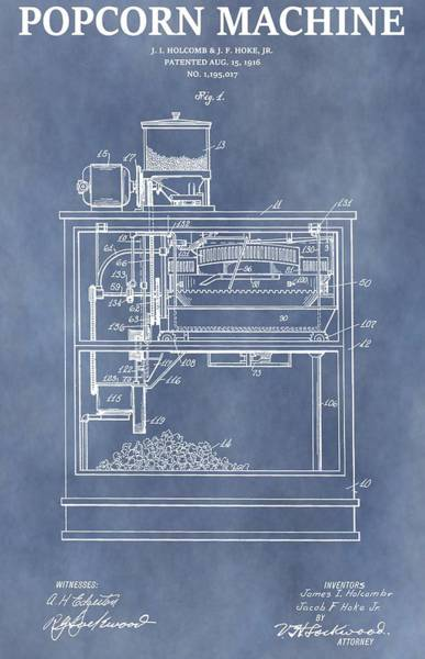 Patent Mixed Media - Vintage Popcorn Machine Patent by Dan Sproul