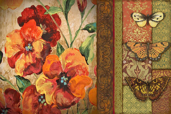 Emboss Wall Art - Painting - Vintage Poppy Tapestry  by Jean Plout