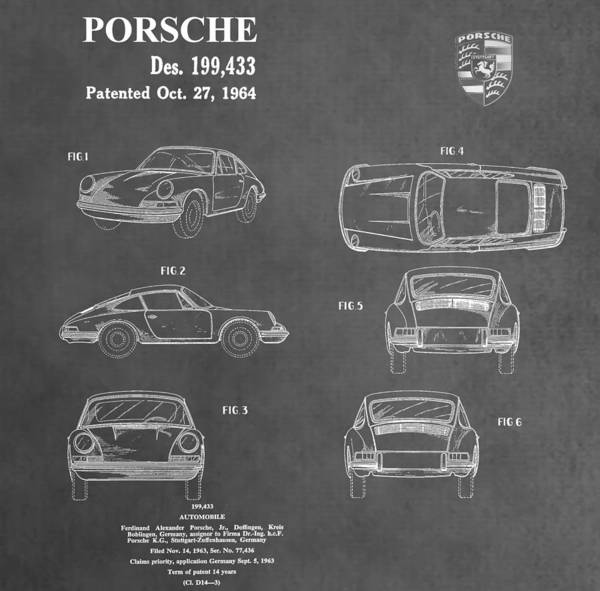 V8 Engine Wall Art - Mixed Media - Vintage Porsche Patent by Dan Sproul