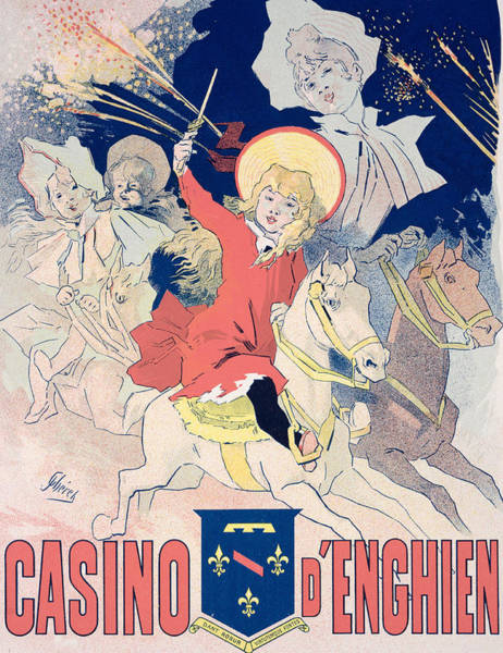 Fireworks Drawing - Vintage Poster  Casino Denghien by Jules Cheret