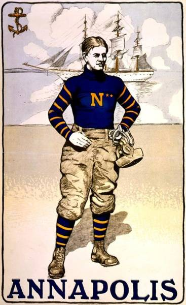 Football Photograph - Vintage Poster - Naval Academy Midshipman by Benjamin Yeager